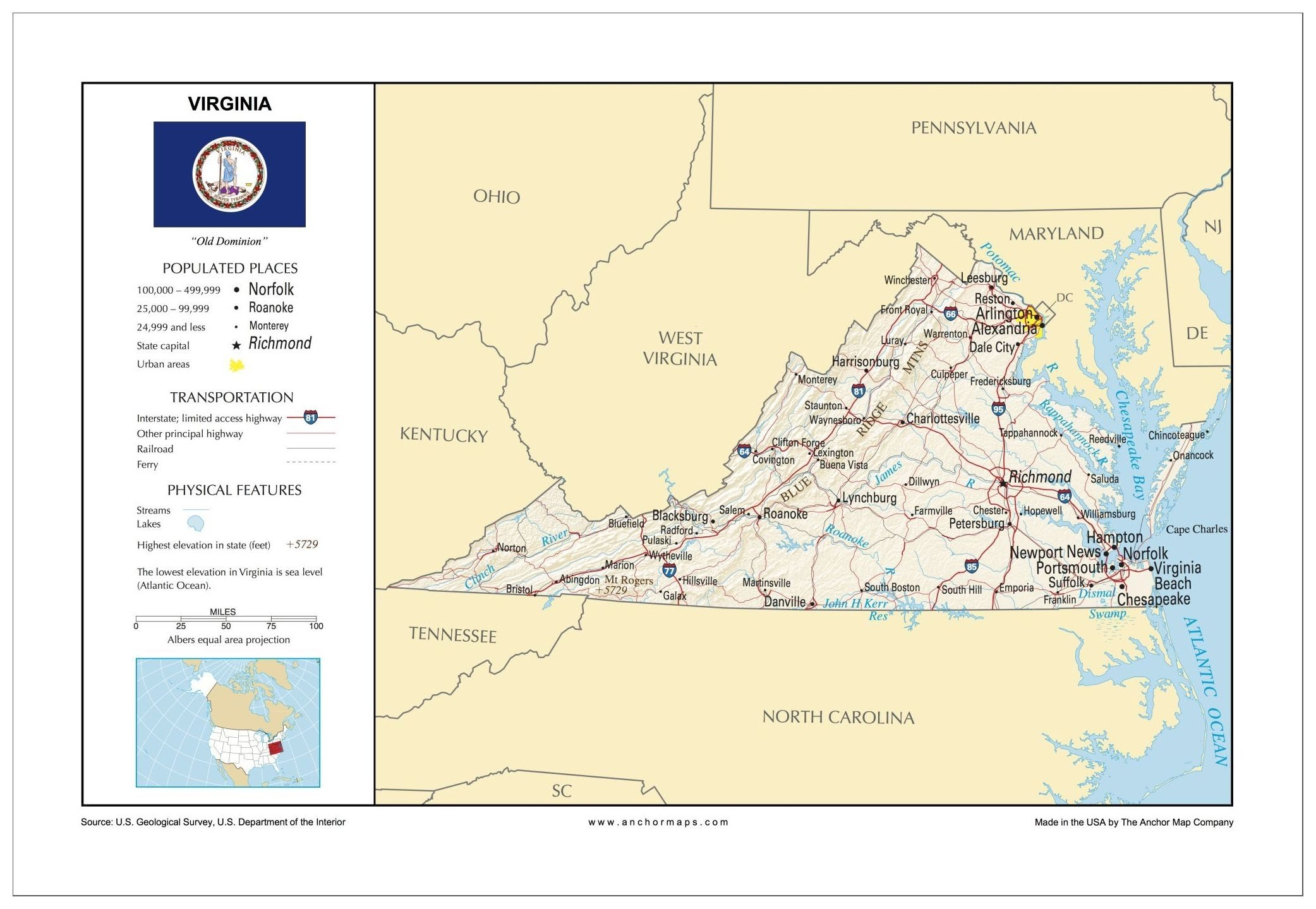 13x19 Virginia General Reference Wall Map - Anchor Maps USA Foundational Series - Cities, Roads, Physical Features, and Topography [ROLLED]