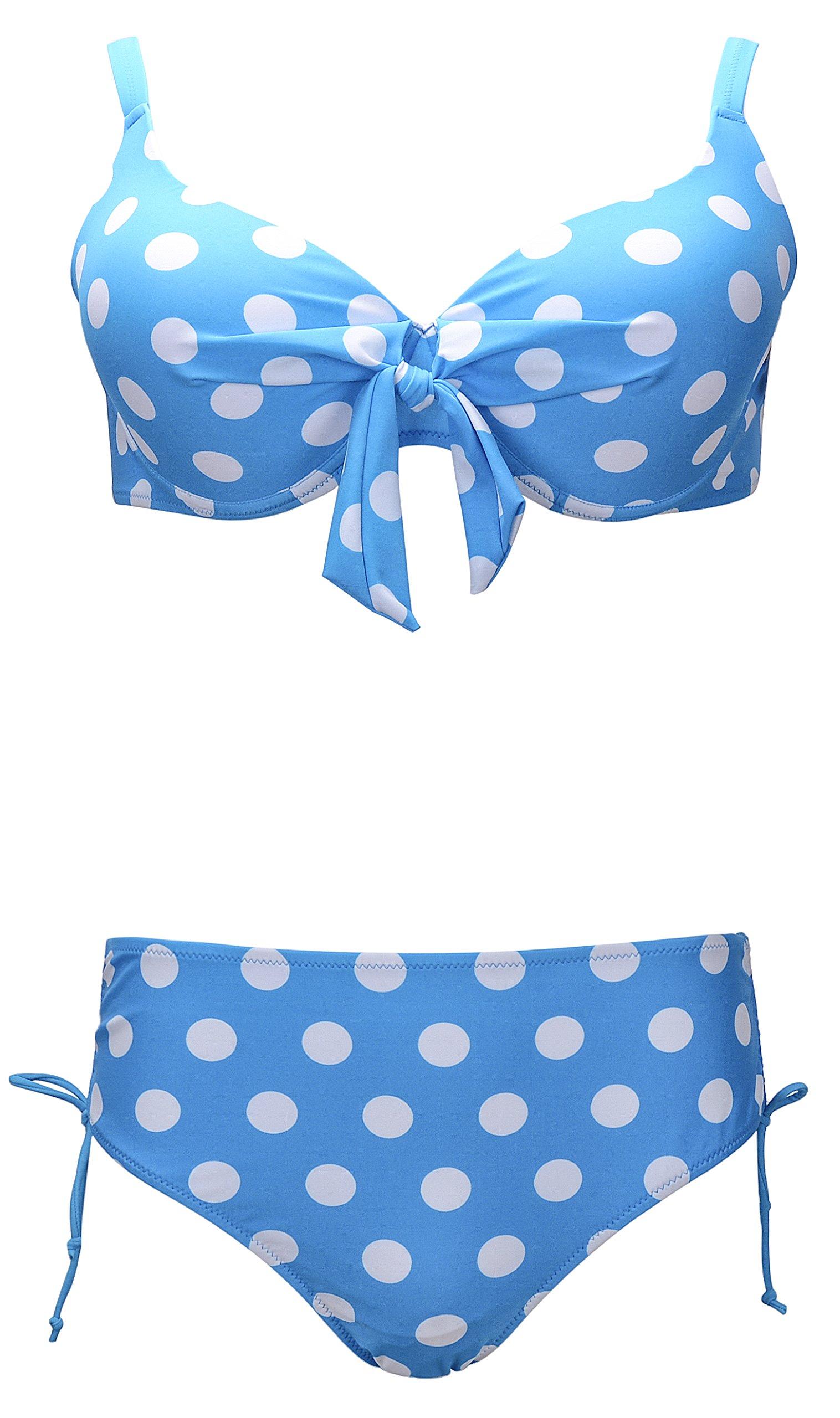 QZUnique Women's Plus Dot Vintage Bikini Bow Busted Push up 2 Pieces Swimsuit Swimwear Blue US 16-18W