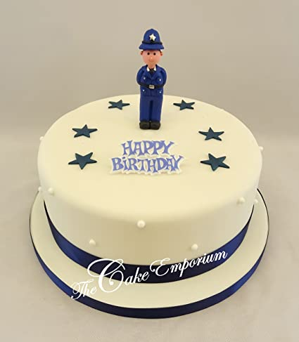 POLICEMAN ORNAMENT SUGAR STARS RIBBON HAPPY BIRTHDAY MOTTO CAKE TOPPER SET Amazoncouk Kitchen Home