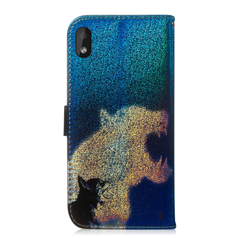 Anti Scratch Flip Soft Silicone Back Case,Colorful Cute Pattern Design Flip PU Leather Case Fatcatparadise Case for Nokia 1 Plus With Tempered Glass Screen Protector Panda