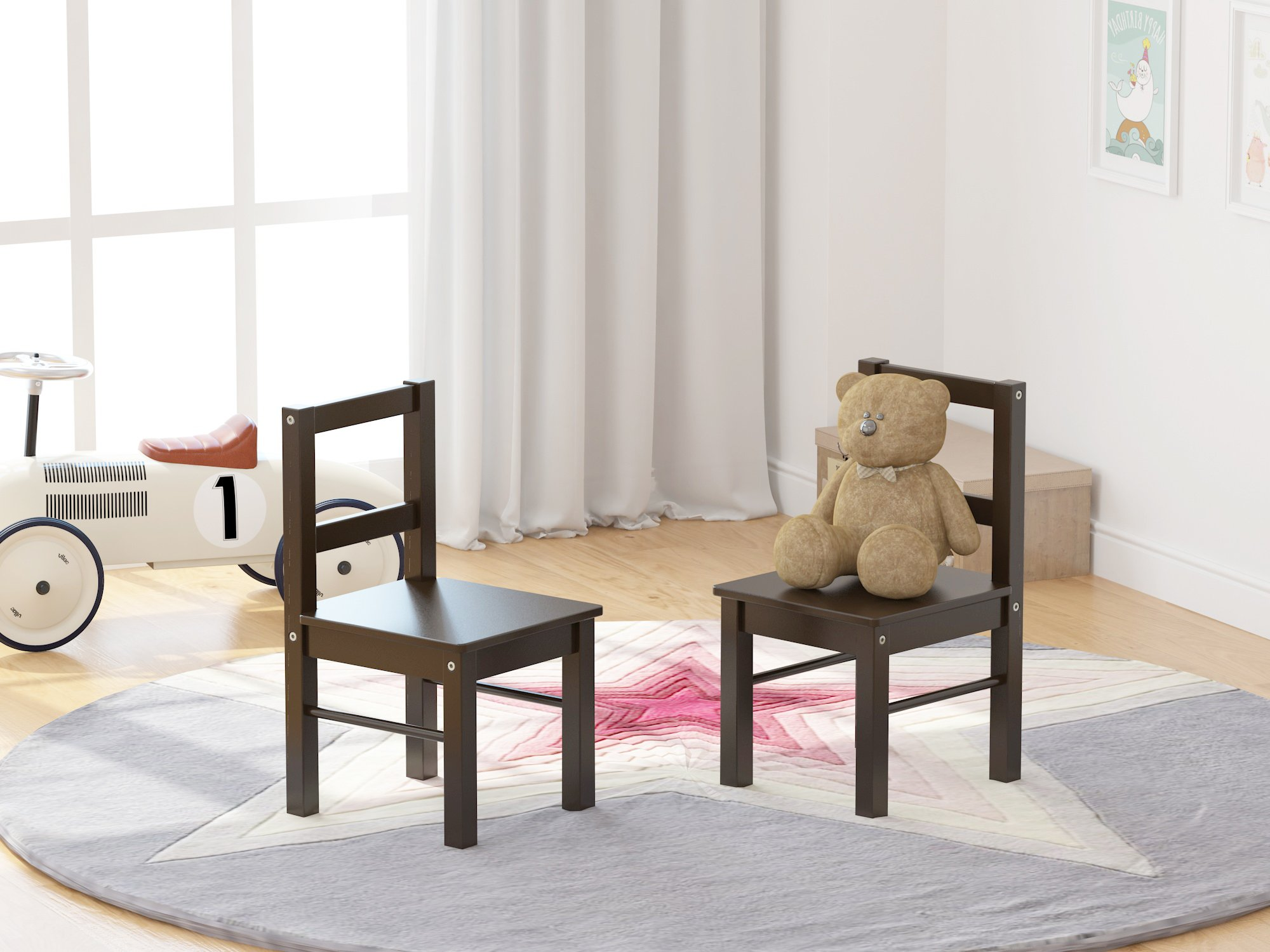 UTEX Child's Wooden Chair Pair for Play or Activity, Set of 2, Espresso by UTEX (Image #3)