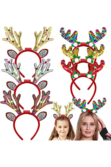 Jixing Christmas Head Boppers Santa Reindeer Hair Hoop Luminous Xmas Headbands Gift for Adult Kids