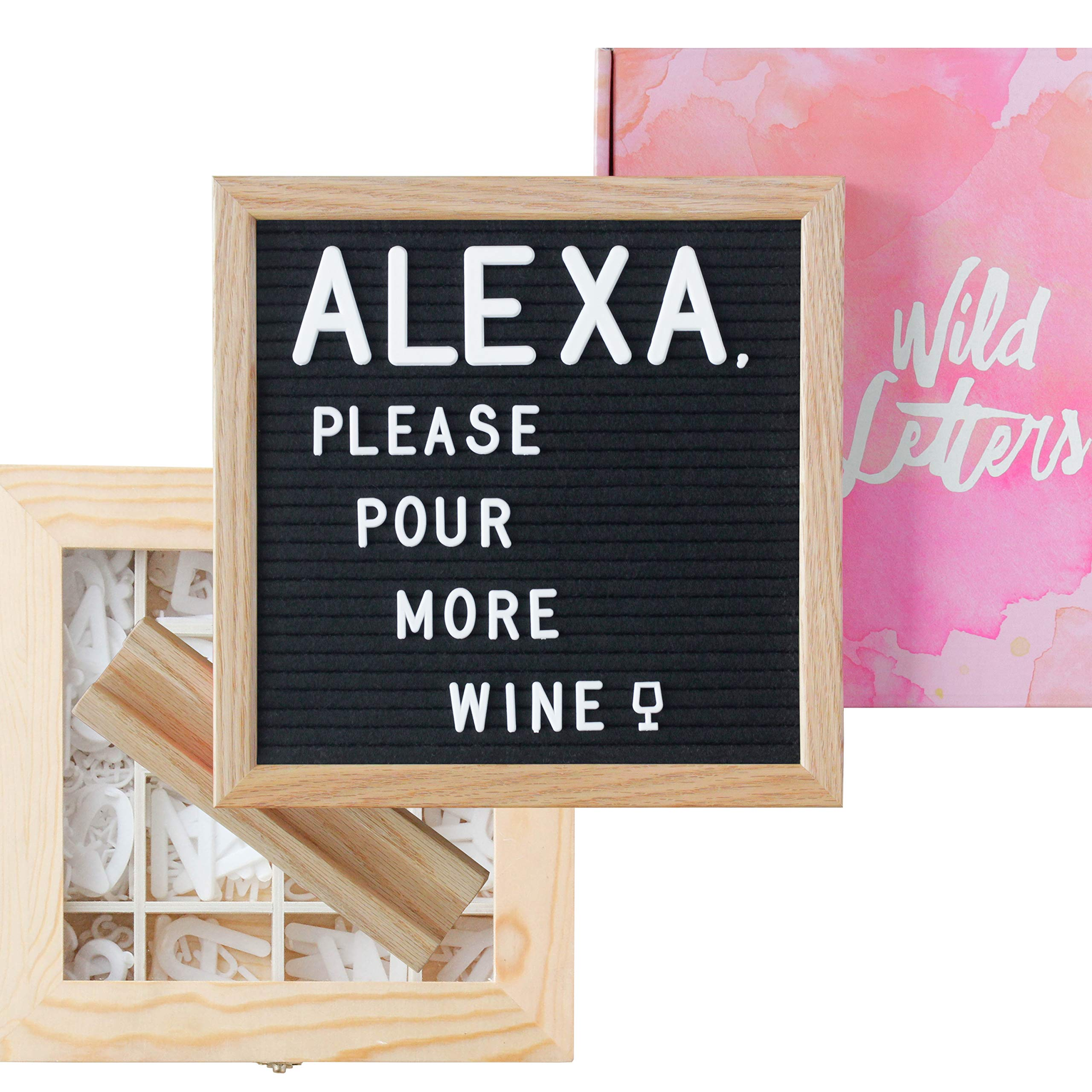 Letter Board with Letters 10x10 Felt Letterboard Accessories |+Organizer +Pre-Cut +Large Letters +Stand| Black, Letterboards, Changeable, Message Board, Box, Baby Announcement, First Day of School by Wild Letters