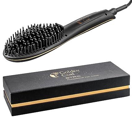 Golden Curl Cepillo Alisador STR8 - Revolucionaria Superficie Cerámica 2 en 1 para un Alisado Eficaz