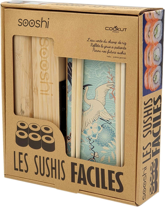 1 Palette en Bambou ZITFRI Kit de Fabrication de Sushi en Bambou 10 pcs Kit /à Sushi Pr/éparation /à Sushi Kit Sushis Complet avec 2 Tapis Sushi Bambou 5 Paires de Baguettes 1 /Épandeur Riz