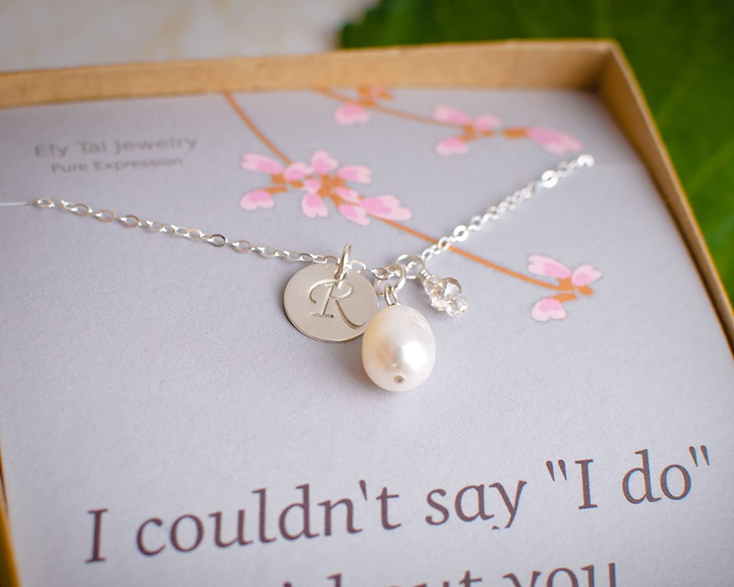EFYTAL Bridesmaid Necklace, Personalized Sterling Silver Initial with Freshwater Cultured Pearl