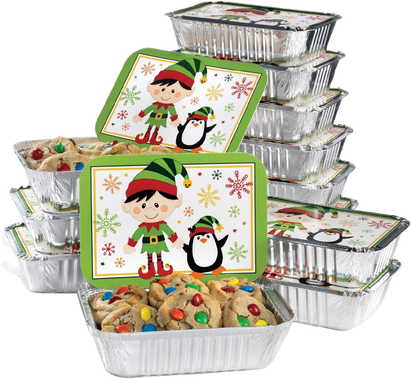 Gia's Kitchen Christmas Cookie Tins, 24 Piece, Set of 12 Foil Pans with Lids, Perfect Cookie Tins with Lids for Gift Giving- Elf Foil Container Rectangular