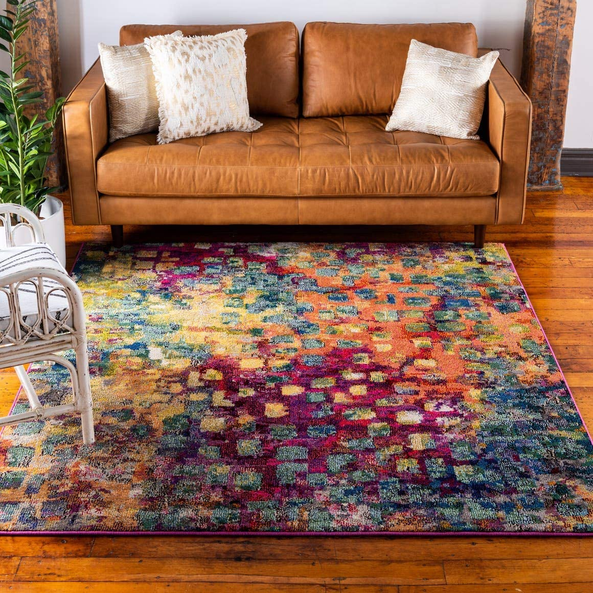 Unique Loom Jardin Collection Colorful Abstract Multi Square Rug 8 0 x 8 0