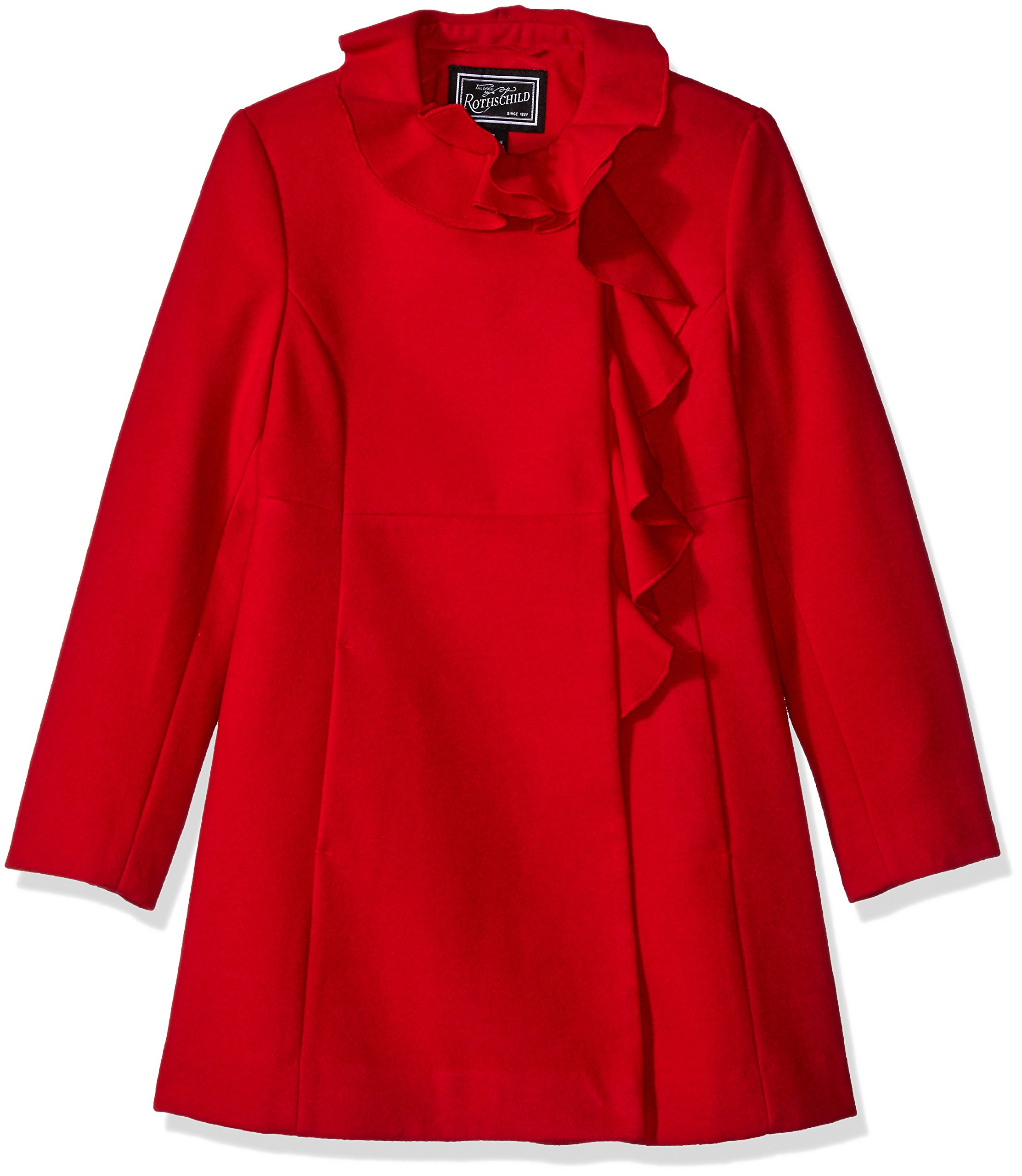 Rothschild Big Girls' Faux Wool Coat with Ruffle Trim, Red, 7