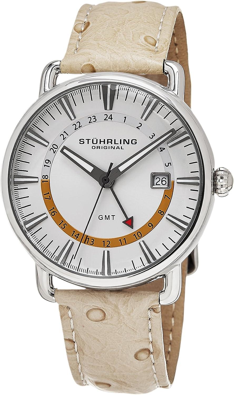 Stuhrling Original Men s 791.01 Symphony Swiss Quartz Date GMT Beige Leather Strap Watch