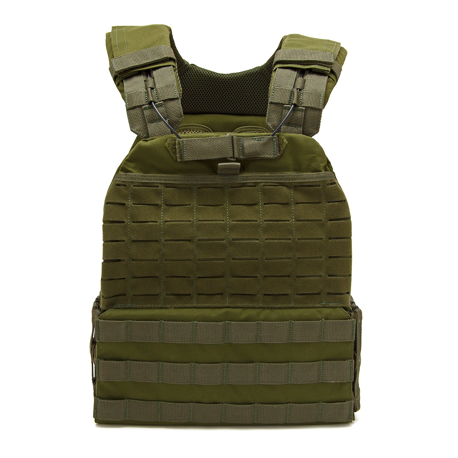 Fringe Sport Adjustable Tactical Weight Plate Vest / 10lb, 15lb or 20lb / Modular Plate Carrier for Training & Conditioning (15lb, Green)