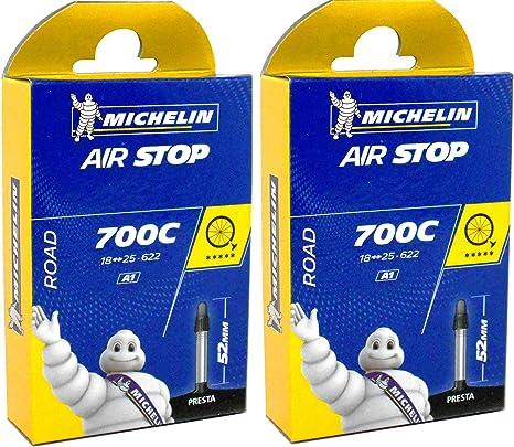 2X michelin Bicicleta de Carretera Airstop Cámara de Aire 52mm Válvula Presta 700 x 18/25 Tubo: Amazon.es: Deportes y aire libre