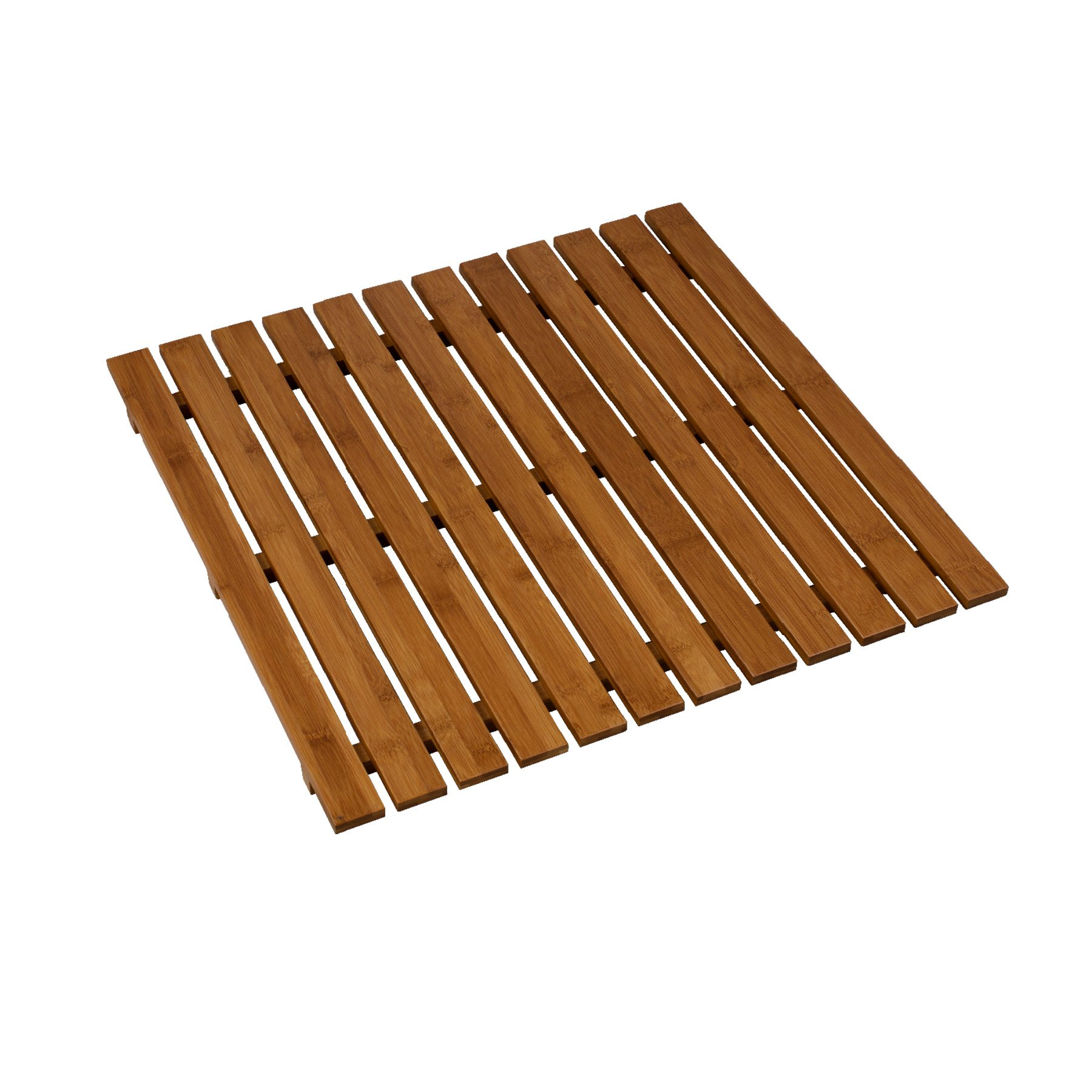 MAYKKE Griffith Large 24'' x 24'' Square Bamboo Bath & Sauna Spa Mat | Slatted Wooden Waterproof Bathroom Accessory Floor Pool Deck, Bathtub, and Shower Stall Mat | NHA1160101