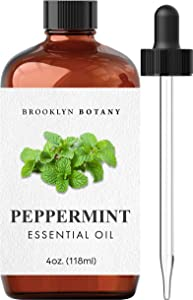 Brooklyn Botany Peppermint Essential Oil – 100% Pure and Natural – Therapeutic Grade Essential Oil with Glass Dropper - Peppermint Oil for Aromatherapy and Diffuser - 4 OZ