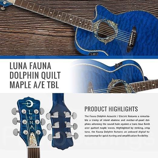 Luna Fauna Dolphin - Guitarra eléctrica acústica con soporte para ...