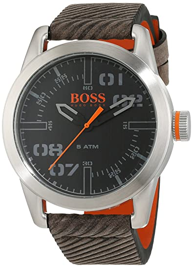 6dd148663c1b Hugo Boss Orange Oslo Men s Quartz Analogue Classic Grey Leather Strap  1513417  Amazon.co.uk  Watches