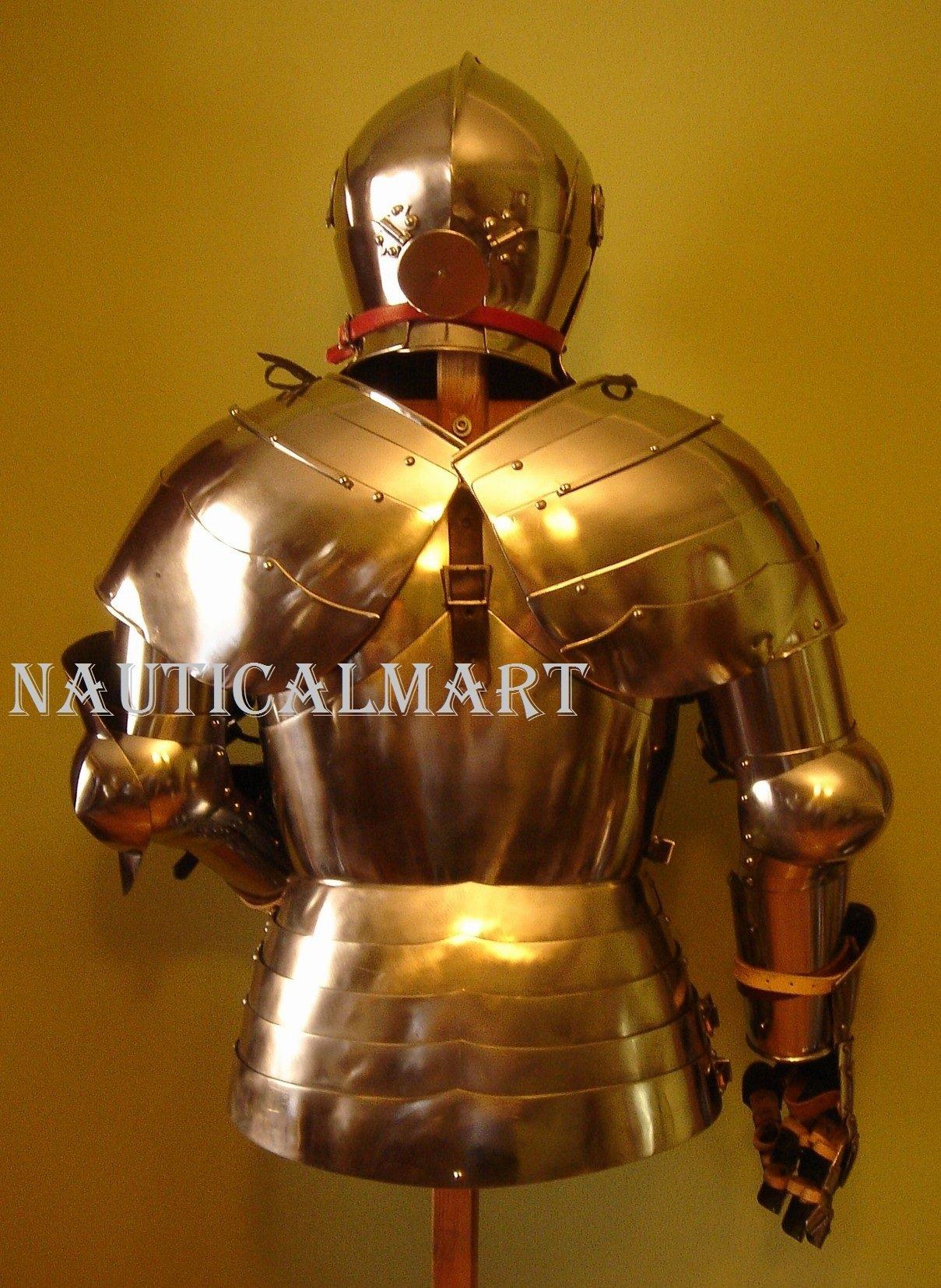 Armor Costume Steel Medieval Suit of Armor Breastplate with Helmet by NAUTICALMART (Image #3)