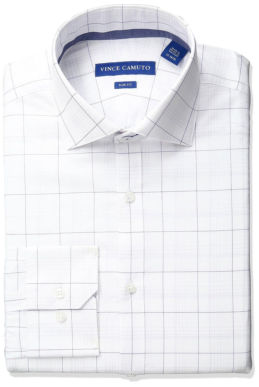 Vince Camuto Mens Slim Fit Stretch Glen Plaid Dress Shirt with Comfort Collar