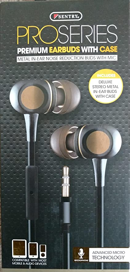 e994ec20dd7 Amazon.com: Sentry Pro Series Metal Earbuds with In-Line Mic & Deluxe Case,  Black, H9000: Home Audio & Theater