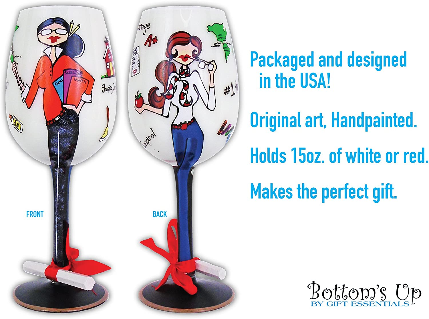 Teachers Professors Wine Glass Shaping Our Future 15oz for Red or White Wine Bottom/'s Up Handpainted Wine Glass