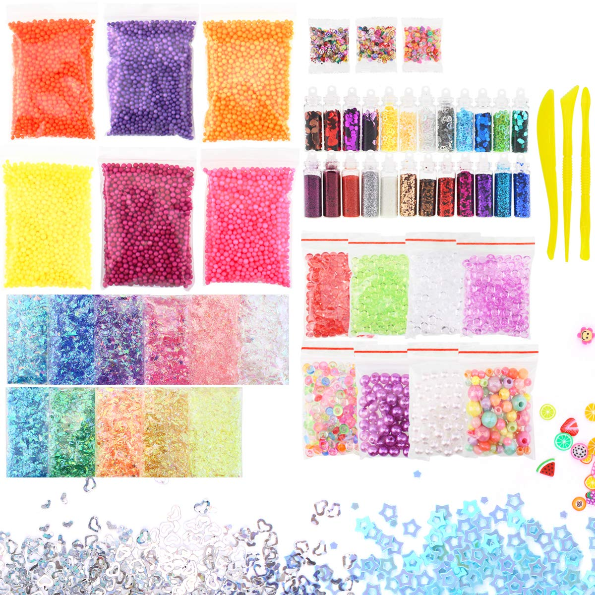 55 Pack Foam Beads for Slime-Slime Supplies Kit Include Floam Beads, Fishbowl Beads, Glitter Jars, Fruit Slices, Rainbow Pearl,Colorful Sugar Paper Accessories, Slime Tools for Slime Making DIY Craft Ordenado