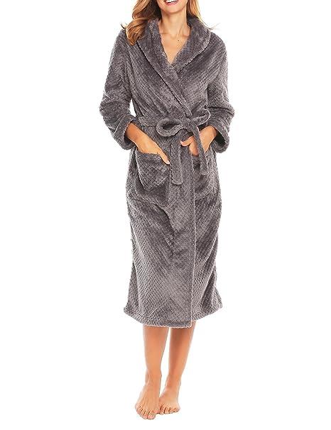 ed70946cb0 Dickin Women s Oversized Size Personalized Petite Long Sweatshirt Robe(Grey  ...