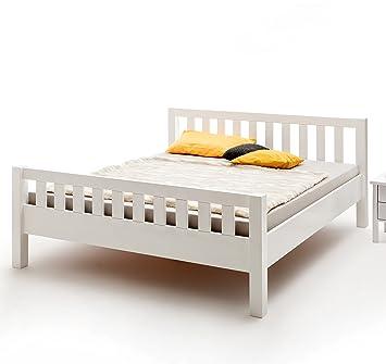 Vaja Massivholz Bett Buche Weiß Lackiert Mit Kopf Und
