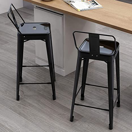 Strange Merax 26 Metal Bar Stools Low Back Indoor Outdoor Counter Height Stools Dining Chair Set Of 2 Traffic Black Gmtry Best Dining Table And Chair Ideas Images Gmtryco