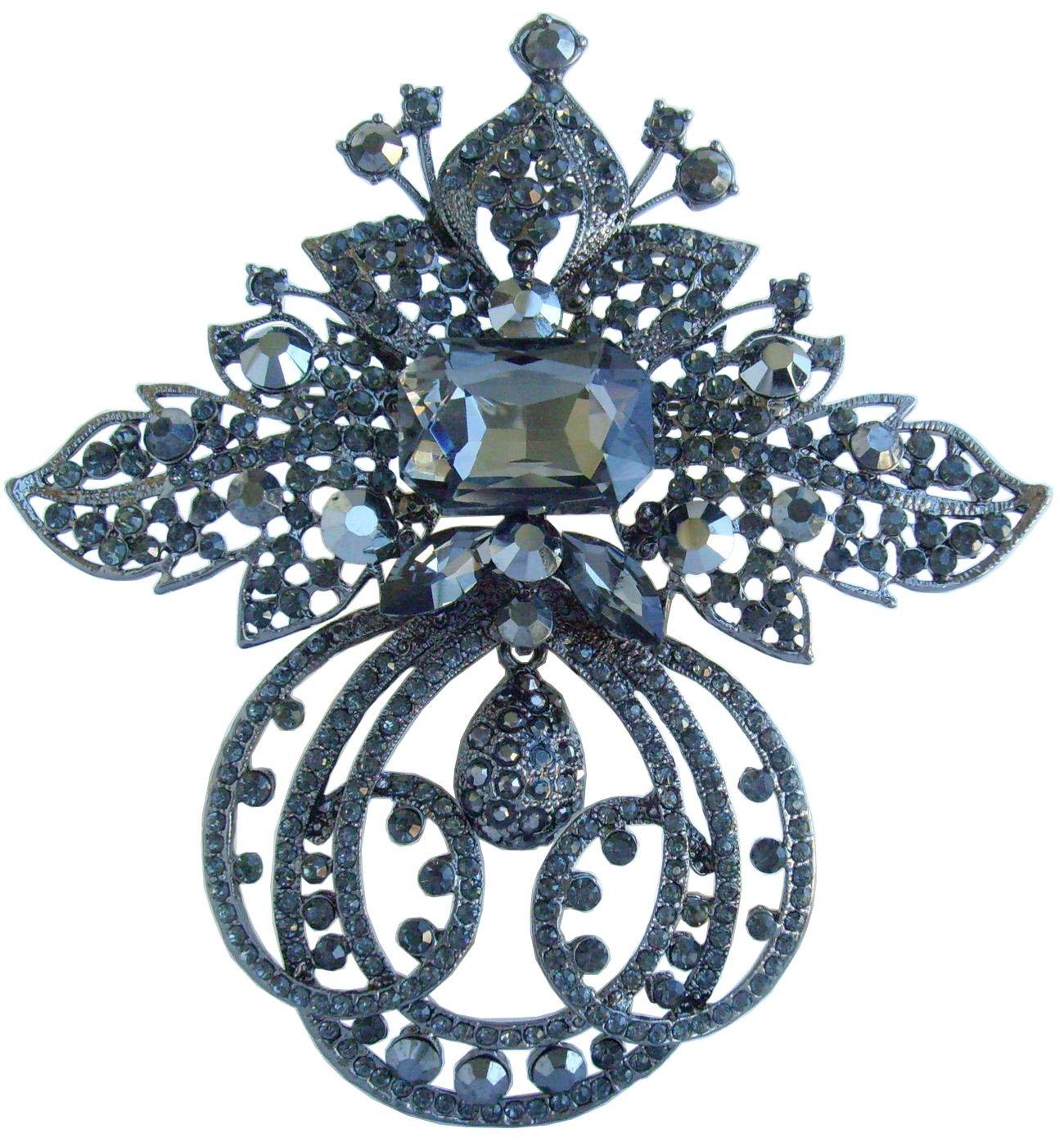 Sindary Jewelry Gorgeous 4.72'' Rhinestone Crystal Flower Brooch Pin Pendant BZ4249 (Black-Tone Black Gray)