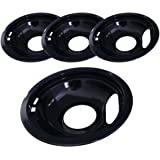 """Kitchen Basics 101 Black Porcelain Style A 1 Large 8"""" and 3 Small 6"""" Replacement for Whirlpool Electrolux Frigidaire"""