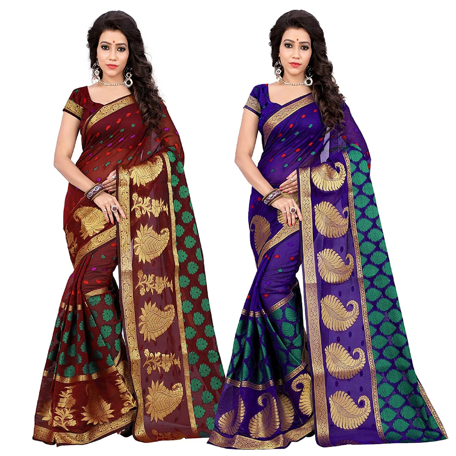 85ce8bc90a Jay Fashion women's self design emblished banarasi silk 2 pc combo saree  with plain blouse (maroon:purple): Amazon.in: Clothing & Accessories