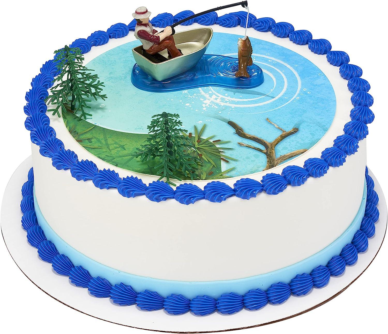 Fisherman with Action Fish DecoSet Cake Decoration