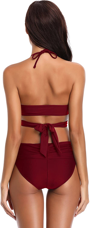 SHEKINI Bikini de Traje de ba/ño de Colores Oscuros para Mujer Bikini de Tirantes Bikini de Cintura Alta de Dos Piezas