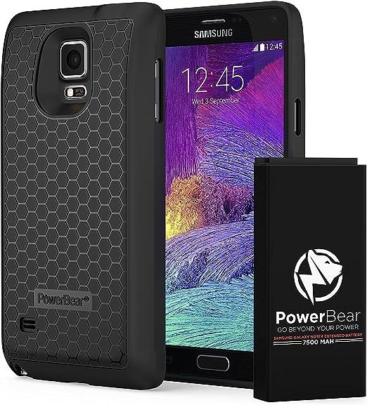 PowerBear Batería Extendida Compatible para Samsung Galaxy Note 4 [7.500mAh], Cubierta Trasera y Carcasa Protectora (hasta 2.3X de Potencia de Batería Adicional): Amazon.es: Electrónica