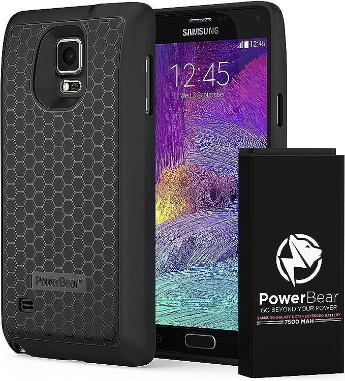 PowerBear Batería Extendida Compatible para Samsung Galaxy Note 4 [7.500mAh], Cubierta Trasera y Carcasa Protectora (hasta 2.3X de Potencia de Batería ...