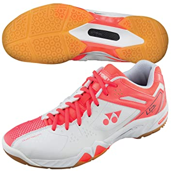c7bfe7ce315 YONEX SHB-02LX Ladies Badminton Shoes, White/Coral, UK4.5: Amazon.co ...