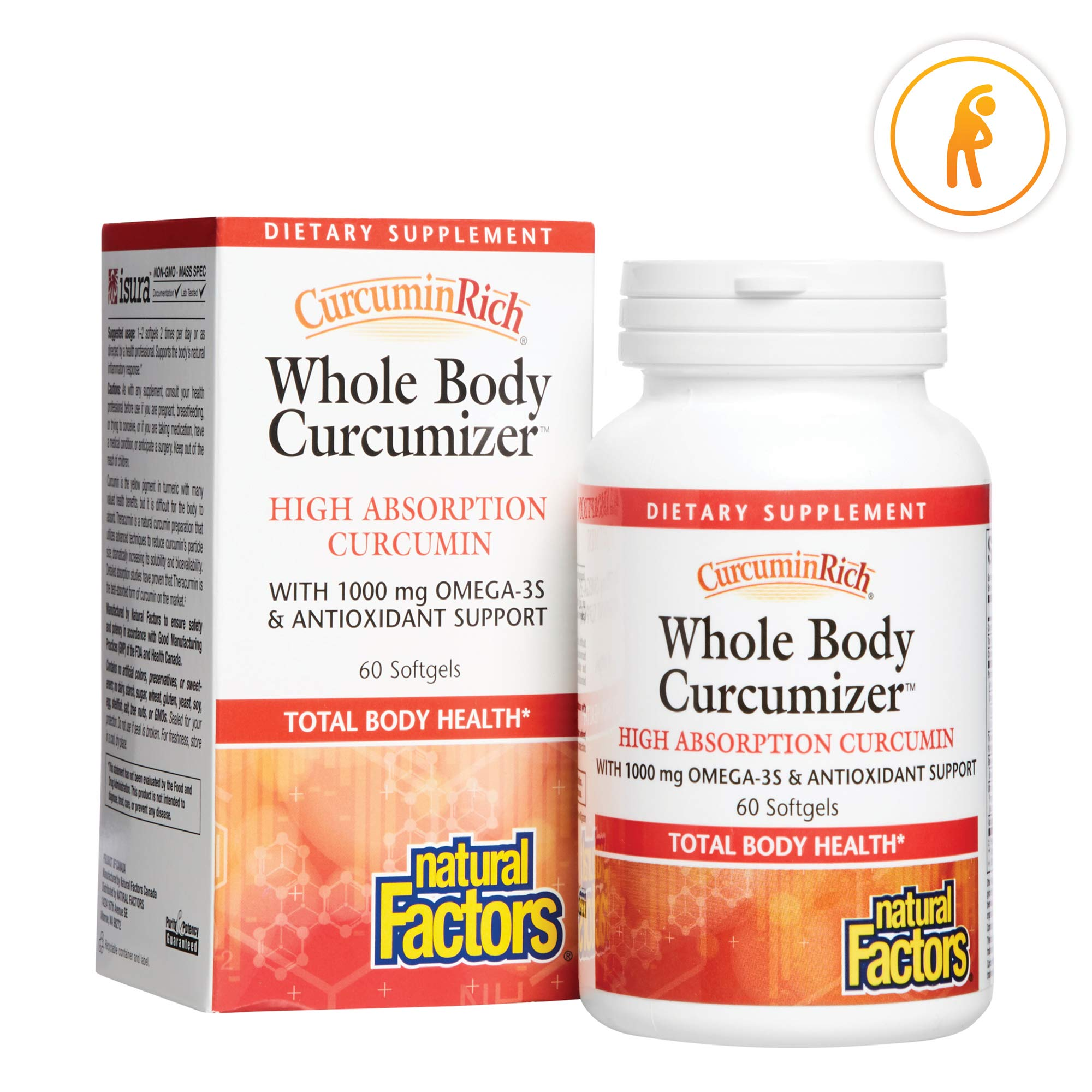 CurcuminRich Whole Body Curcumizer by Natural Factors, Supports a Healthy Heart, Joints, Brain and Inflammatory Response with Omega-3 EPA and DHA, 60 softgels (30 Servings) by Natural Factors