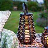 Lights4fun - Lanterna allungata LED da esterno effetto rattan ad energia solare, 25cm