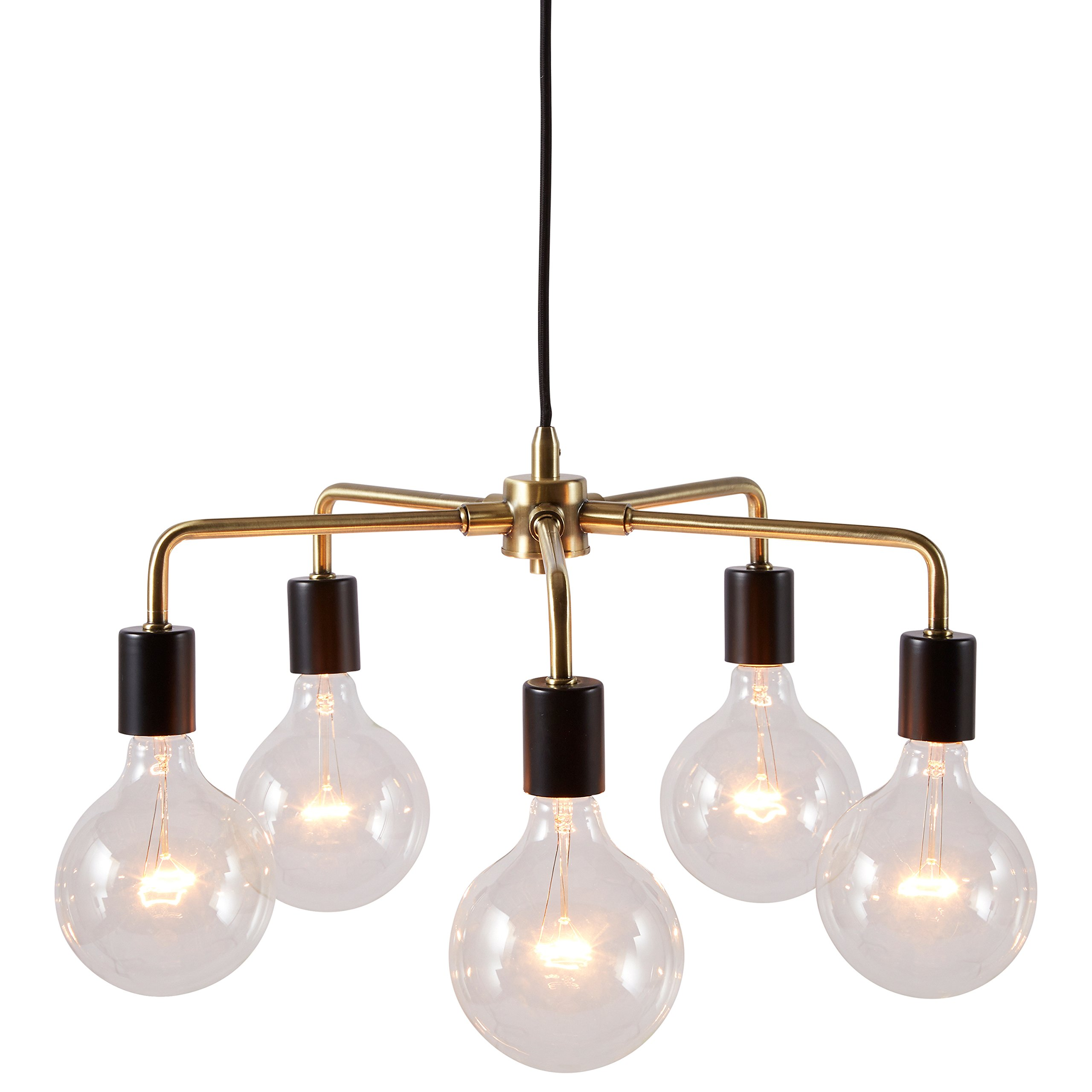 Rivet 5-Arm Industrial Pendant Chandelier, 36''H, With Bulbs, Black and Brass Finish