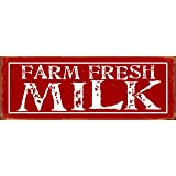 "Barnyard Designs Farm Fresh Milk Retro Vintage Tin Bar Sign Country Home Decor 13.75"" x 5"""