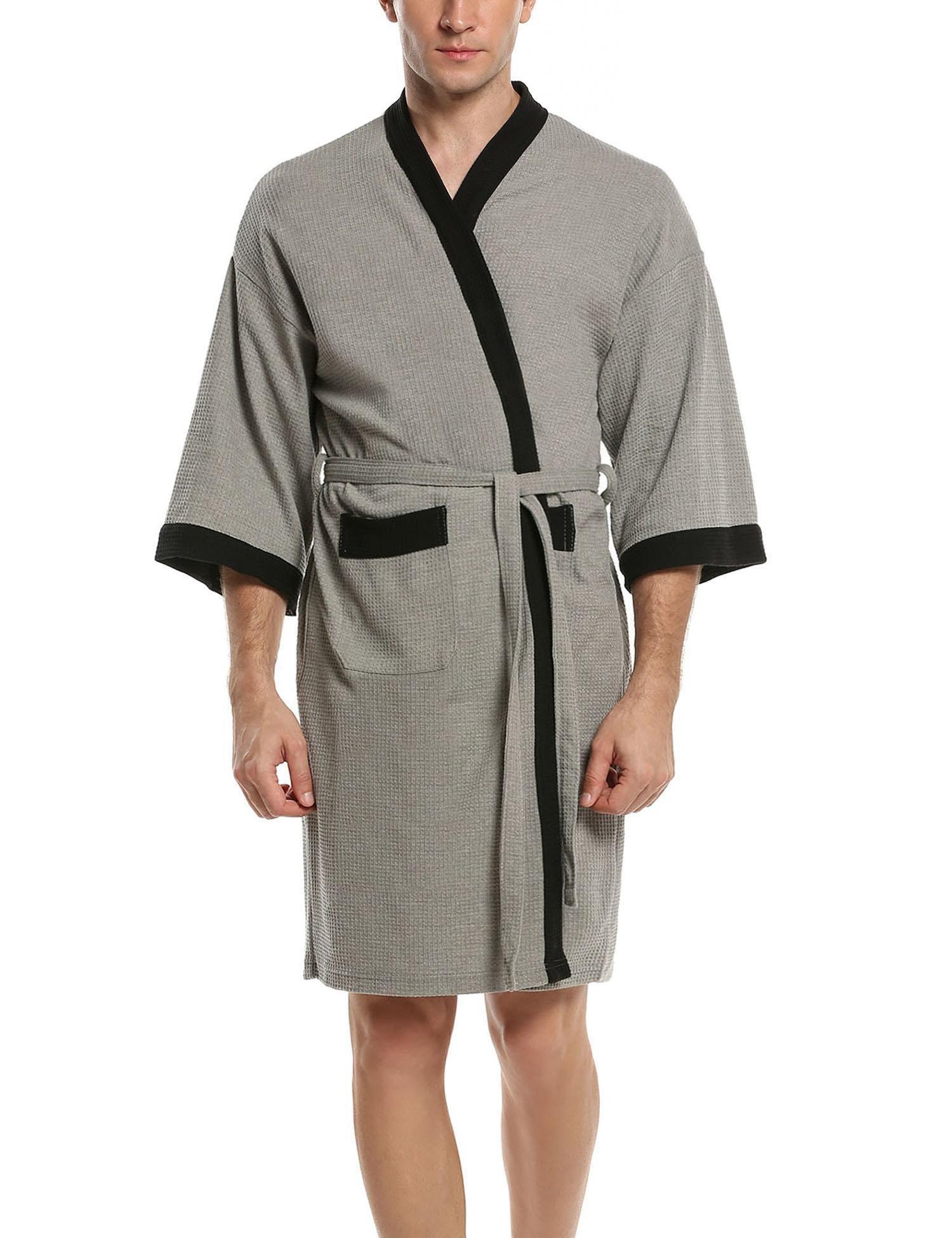 MAXMODA Men's Short Kimono Lightweight Bathrobe Grey Black XL