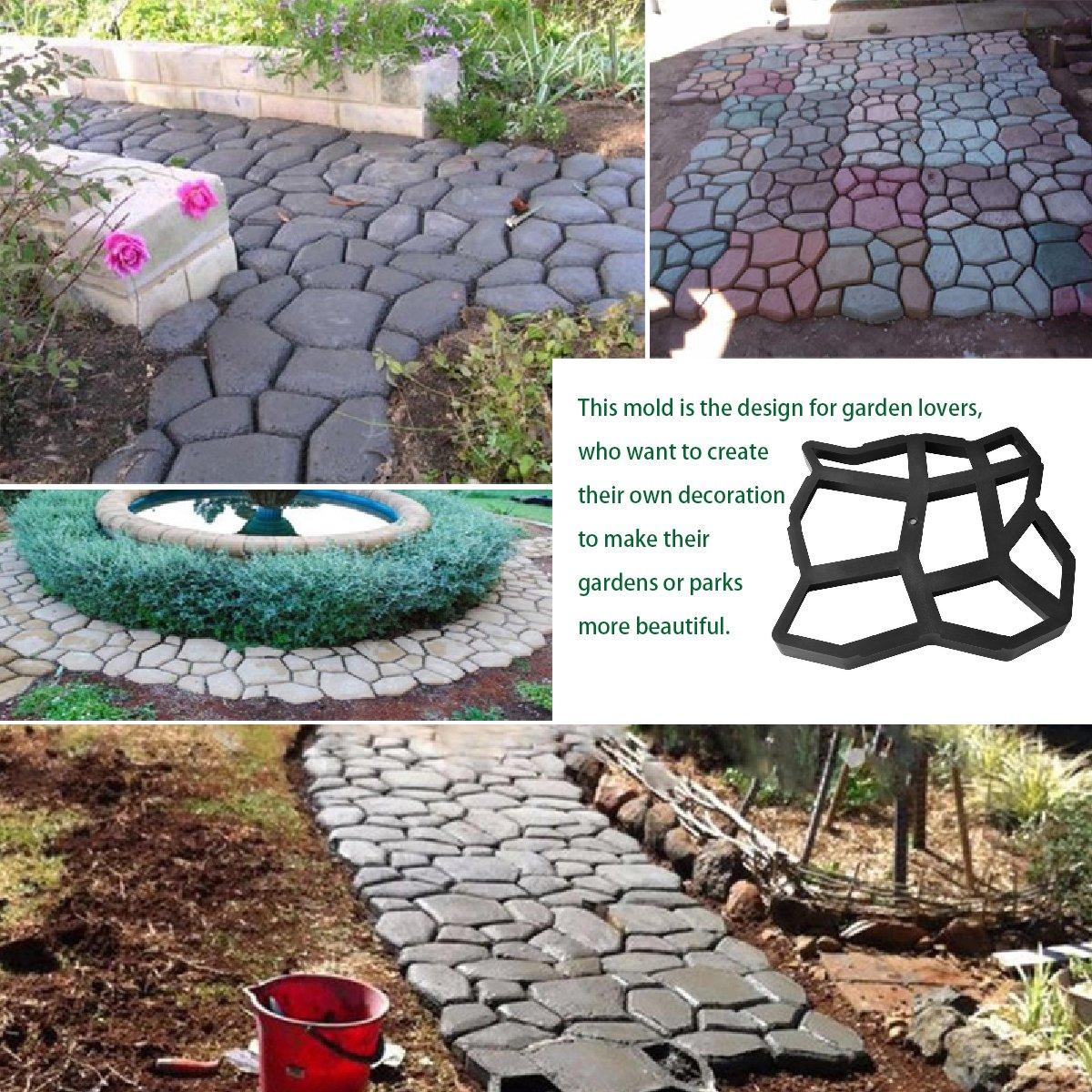 YoungRich 2pcs Moldes para Cemento Molde para Hacer Pavimentos Molde de Bricolaje para Pavimento Molde para Hormigón DIY Camino de Jardín Forma Caminar ...