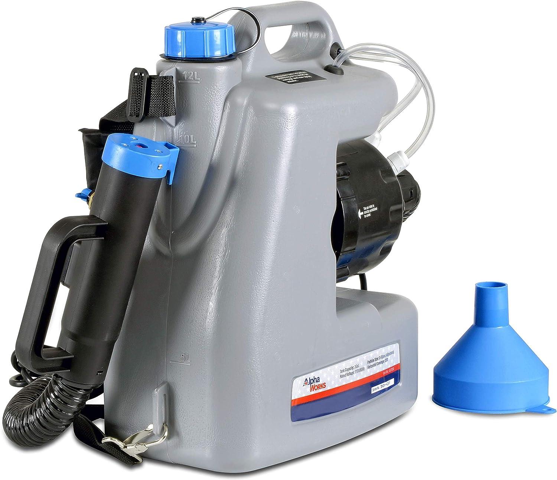 AlphaWorks Fogger Machine Disinfectant Improved Corded Back Pack Mist Duster ULV Sprayer 3GAL Mist Blower Adjustable Particle Size 0-50μm/Mm