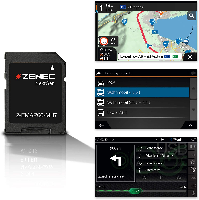 ZENEC Z-EMAP66-MH7: Micro Tarjeta SD Con Autocaravana GPS Para ZENEC Radios de Coche / Multimediasysteme Z-E3766,Z-N965,Z-N966,3-D Tarjetas Para Europa, Campamento P. O. I. Para Autocaravana, Tmc