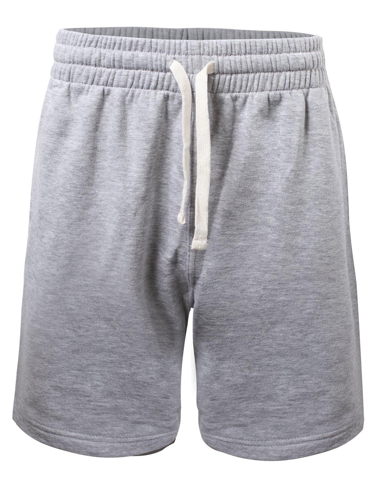 ProGo Men's Casual Basic Fleece Marled Shorts Pants with Elastic Waist (Heather Gray, X-Large) by PROGO USA