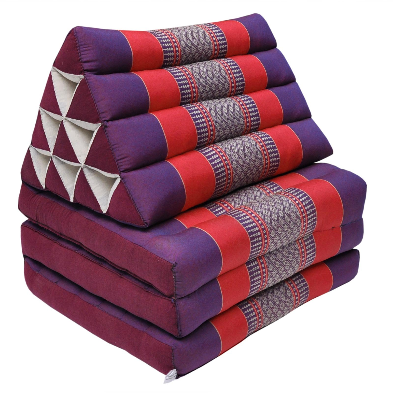 Thai mattress 3 folds with triangle cushion, relaxation, beach, pool, meditation garden Violet/Red (81503)