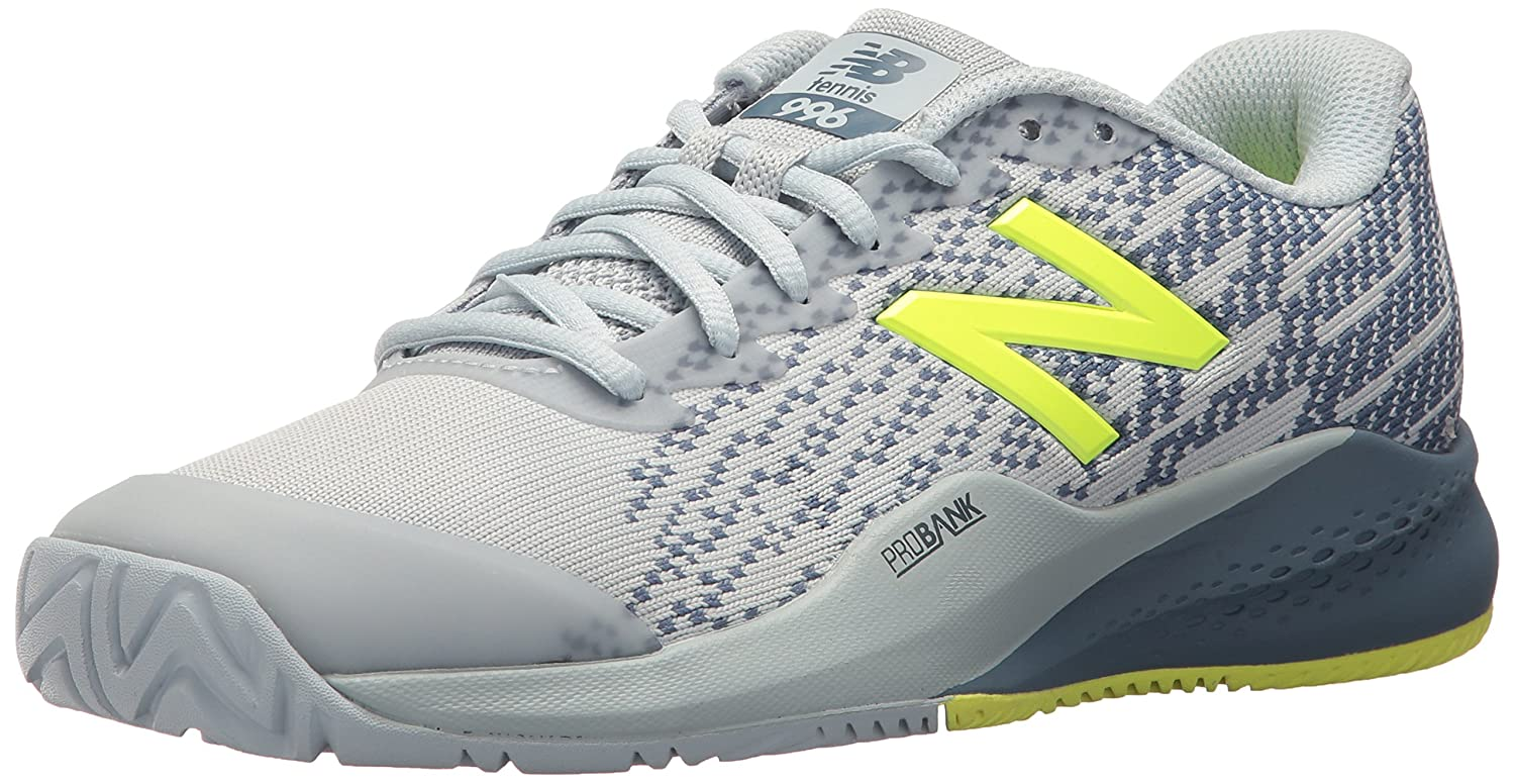 New Balance Women's 996v3 Hard Court Tennis Shoe B06XSD38VK 85 B US|Light Porcelain Blue/Solar Yellow