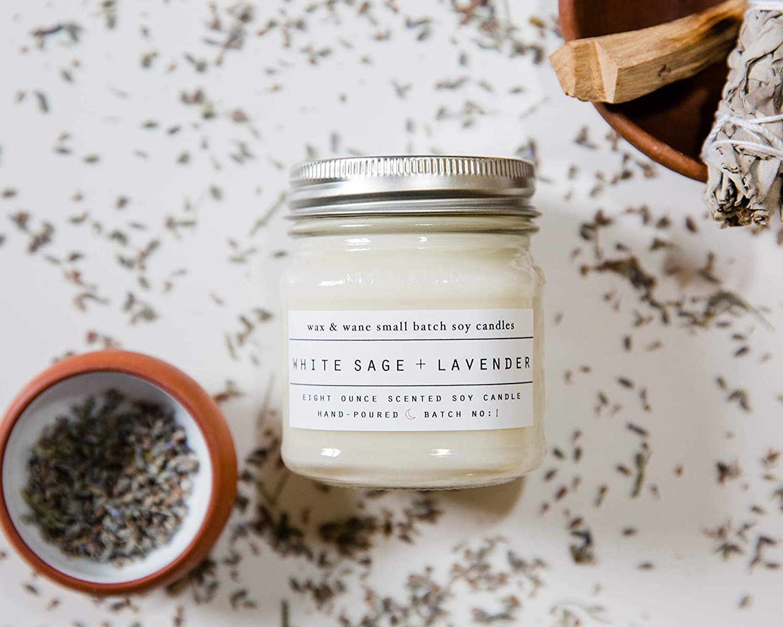 White Sage Lavender Scented 8 oz Mason Jar Soy Candle