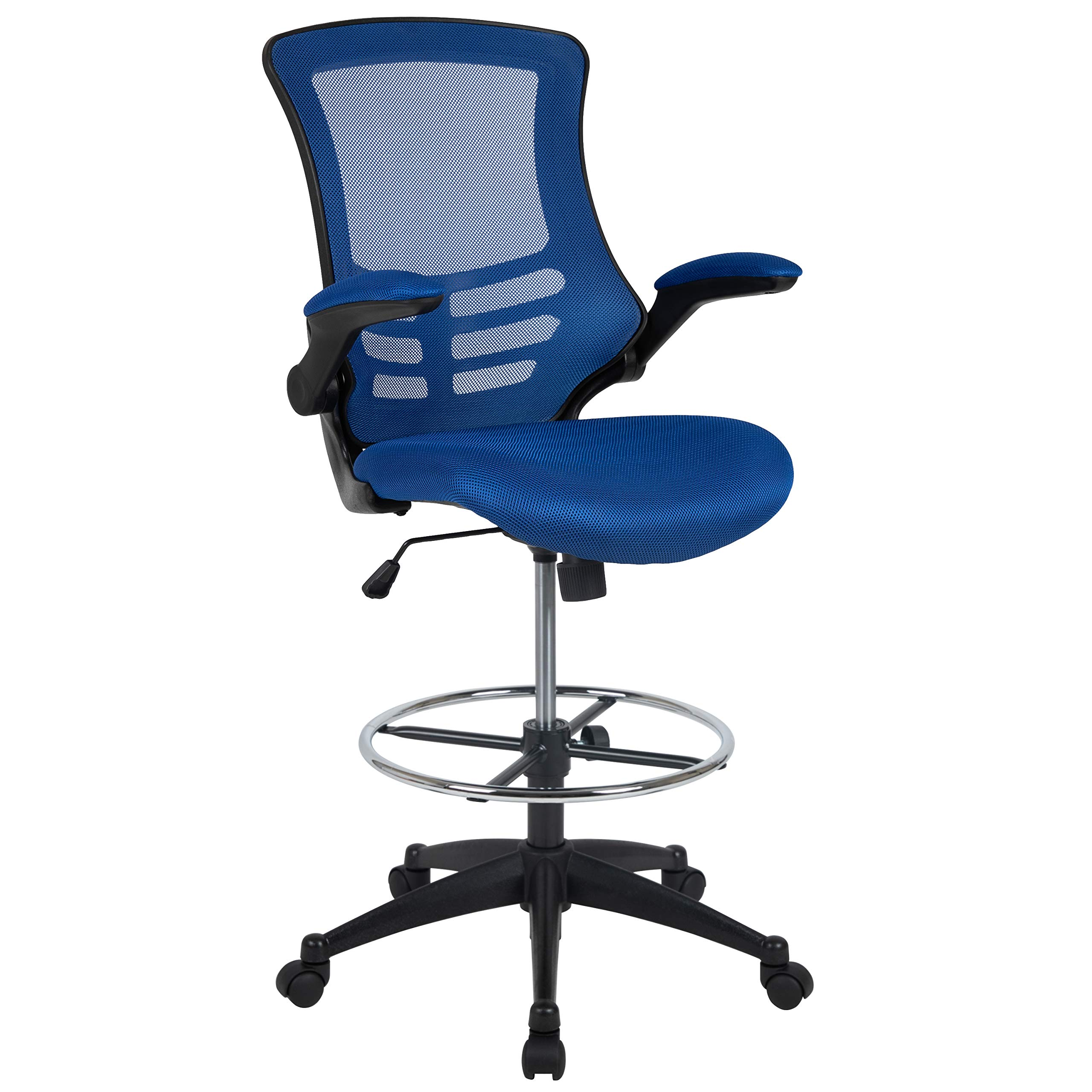 Flash Furniture Mid-Back Blue Mesh Ergonomic Drafting Chair with Adjustable Foot Ring and Flip-Up Arms by Flash Furniture