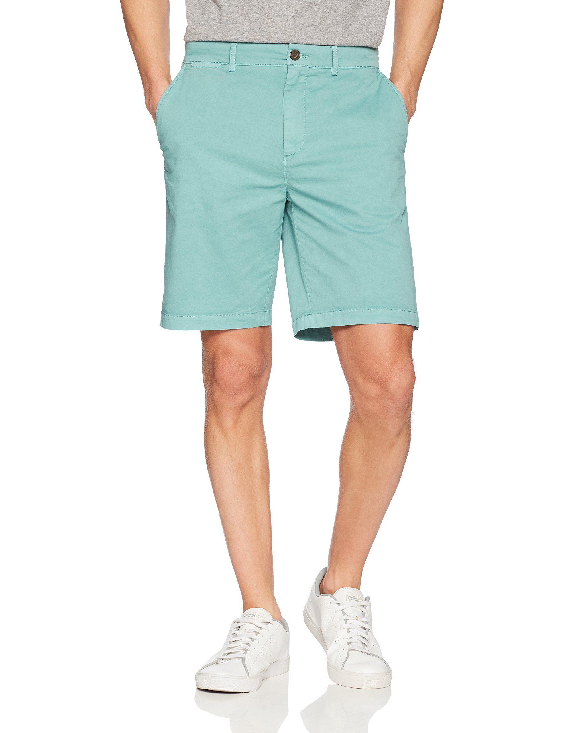 Goodthreads Men's 9'' Inseam Flat-Front Stretch Chino Shorts, Aquifer, 34 by Goodthreads